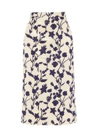 BROCK COLLECTION Floral-embroidered shantung pencil skirt in ivory white