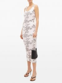 PACO RABANNE Floral-print ribbed stretch-cotton column dress in pink / luxury tank dresses