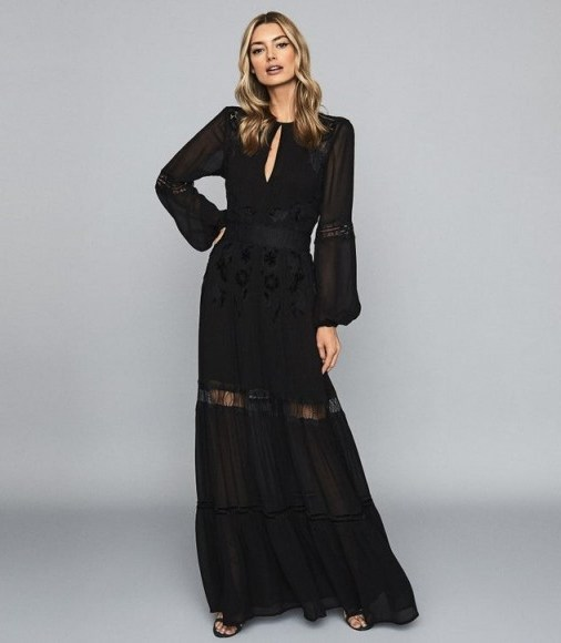 REISS FRANCESCA OPEN BACK LACE MAXI DRESS BLACK ~ long sheer panel event dresses - flipped