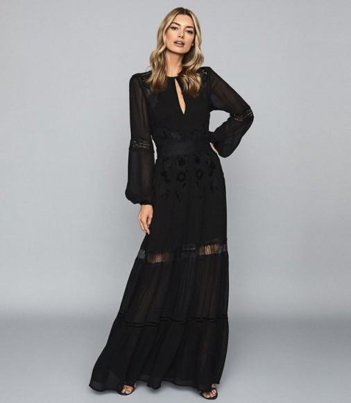 REISS FRANCESCA OPEN BACK LACE MAXI DRESS BLACK ~ long sheer panel event dresses