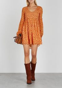 FREE PEOPLE Maria floral-print chiffon mini dress in peach.