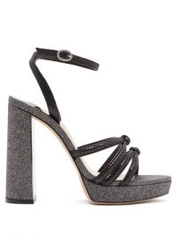 SOPHIA WEBSTER Freya black suede and glitter platform sandals