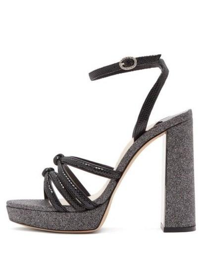 SOPHIA WEBSTER Freya black suede and glitter platform sandals - flipped