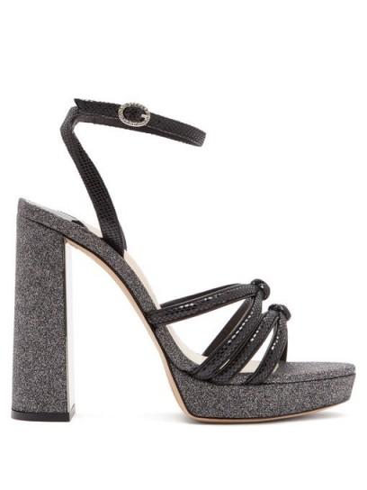 SOPHIA WEBSTER Freya black suede and glitter platform sandals