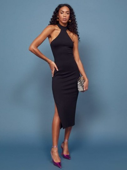 REFORMATION Gable Dress in Black ~ lbd ~ evening glamour - flipped