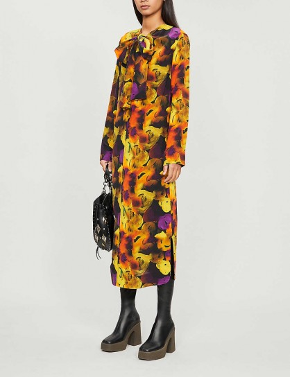GANNI Tied-neck floral-print crepe midi dress in lemon – bright and bold prints