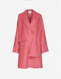 GESTUZ Davina shawl-lapel asymmetric woven coat in rapture rose ~ pretty pink coats