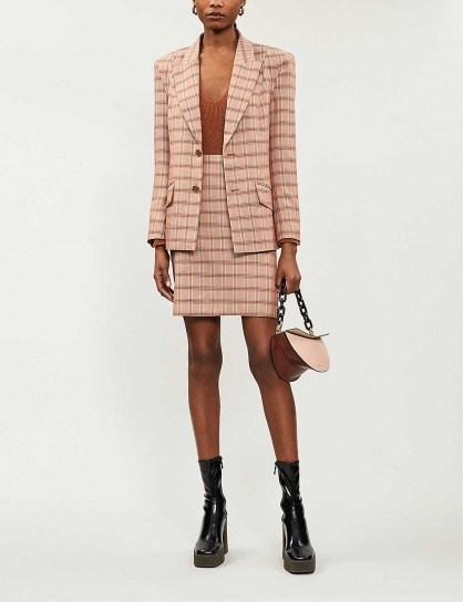GESTUZ Jin checked woven blazer in light brown herrin / suit jackets - flipped