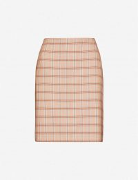 GESTUZ Jin checked woven mini skirt in light brown herrin