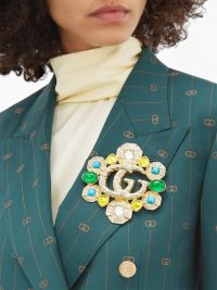 GUCCI GG Marmont embellished brooch ~ hammered gold-tone resin stone brooches