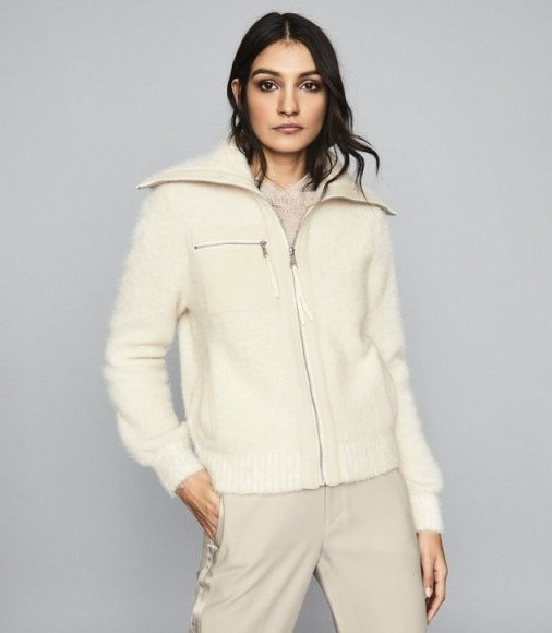 REISS GINA BOUCLE ZIP THROUGH CARDIGAN CREAM ~ casual luxe - flipped
