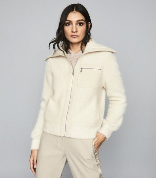 REISS GINA BOUCLE ZIP THROUGH CARDIGAN CREAM ~ casual luxe