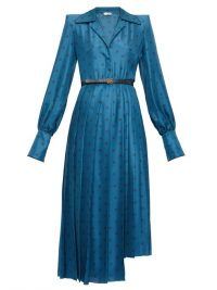 FENDI Gloria Karligraphy logo-jacquard satin shirtdress in blue ~ designer vintage look shirt dress