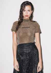 HOUSE OF HOLLAND GOLD LUREX TEE – shimmering t-shirt
