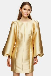 Topshop Boutique Gold Puff Ball Dress / metallic party dresses