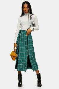 TOPSHOP Green Check Split Trim Midi Skirt / front double slit skirts
