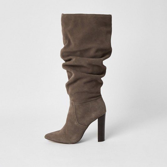 RIVER ISLAND Grey suede slouch knee high boots – ruched winter boot