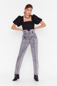 Nasty Gal Haven't Seam the Last of Me Denim Mom Jeans in grey