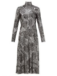 PACO RABANNE Hawaiian palm-print lurex and velvet midi dress in silver and black / high neck fit and flare