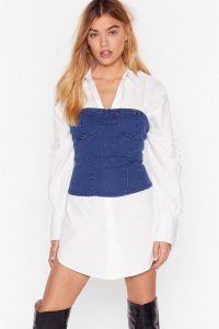 Nasty Gal Hey What's Cup Denim Corset Top in mid blue