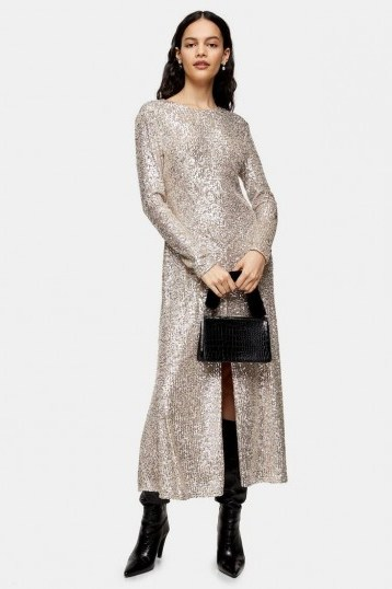 Topshop IDOL Sequin Midi Dress With Gold Sequins - flipped