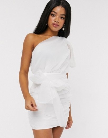 In The Style asymmetric ruched mesh drape detail mini dress in white - flipped