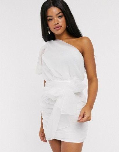 In The Style asymmetric ruched mesh drape detail mini dress in white