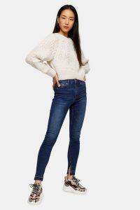 Topshop Indigo Split Hem Jamie Jeans | blue skinnies