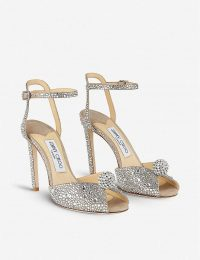 JIMMY CHOO Sacroa 100 crystal-embellished suede sandals in nude/crystal
