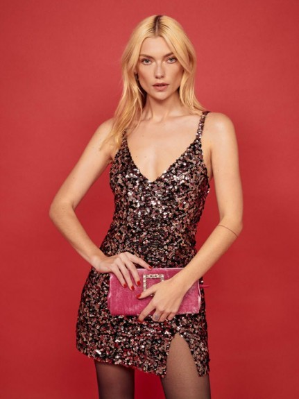 Reformation Jimmy Dress in Rose Dazzle | strappy sequinned dresses