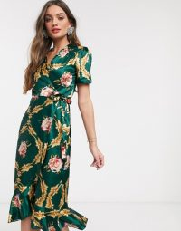 John Zack Petite wrap front midi dress in green rose print – retro fashion