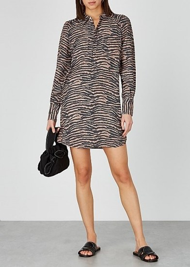 JOIE Talma tiger-print chiffon shirt dress - flipped