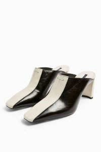 TOPSHOP JUDY Leather Black Elongated Mules / retro footwear