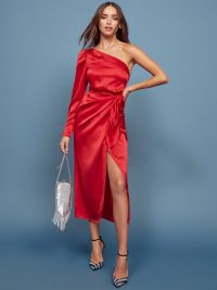 REFORMATION Justine Dress in Cherry ~ striking red one shoulder dresses