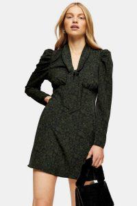 Topshop Khaki Archive Print Tie Neck Mini Dress | green vintage look dresses