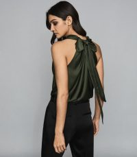 REISS LAURA BOW DETAIL SATIN TOP GREEN