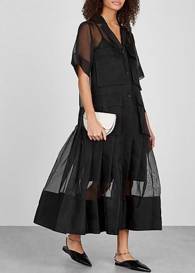 LEE MATHEWS Callie black silk-organza shirt dress. CHIC UTILITY DRESSES