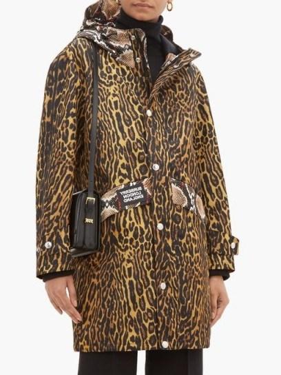 BURBERRY Leopard print technical-nylon hooded parka ~ mixed animal prints - flipped