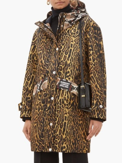 BURBERRY Leopard print technical-nylon hooded parka ~ mixed animal prints