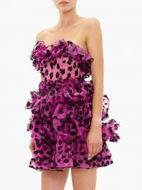CHRISTOPHER KANE Leopard-flocked ruffled silk-organza mini dress in pink ~ frothy strapless event dresses