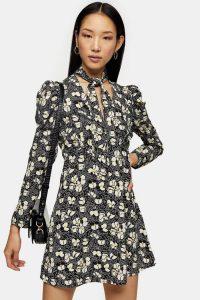TOPSHOP Lily Print Tie Neck Mini Dress in monochrome / puff sleeve dresses