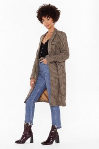 NASTY GAL Longline Coming Check Double Breasted Coat in khaki