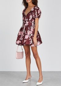 LOVESHACKFANCY Hansel floral-print taffeta mini dress in burgundy / cute fit and flare