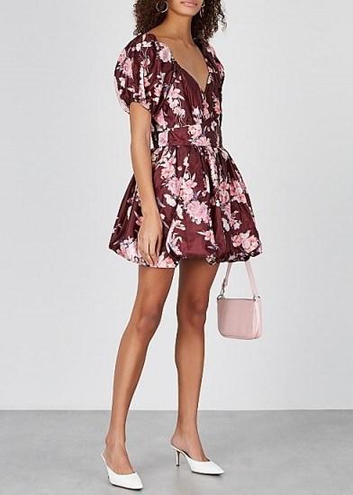 LOVESHACKFANCY Hansel floral-print taffeta mini dress in burgundy / cute fit and flare - flipped