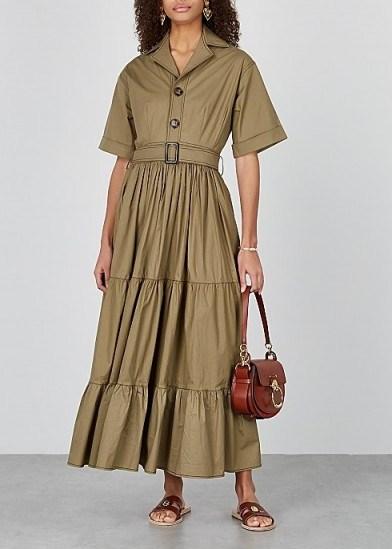 LUG VON SIGA Macy olive stretch-poplin shirt dress – tiered dresses - flipped