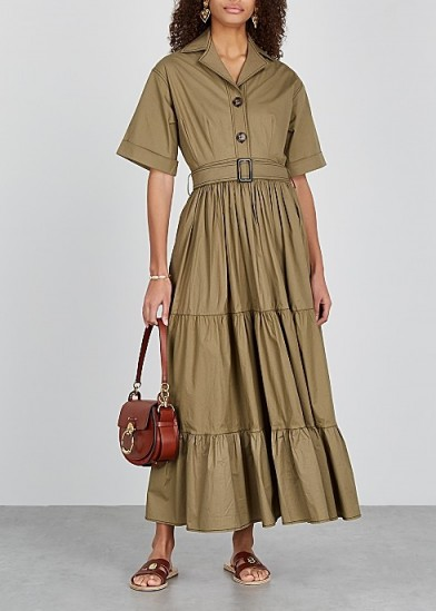 LUG VON SIGA Macy olive stretch-poplin shirt dress – tiered dresses