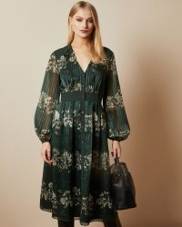 Ted Baker DELYLA Meadow Sweep long sleeved midi dress in Dark Green