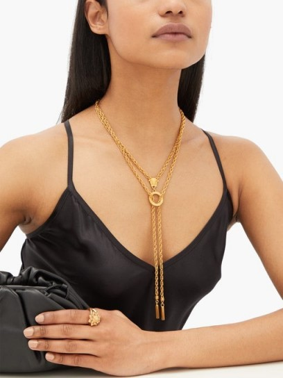 VERSACE Medusa gold-tone double-chain necklace ~ designer necklaces