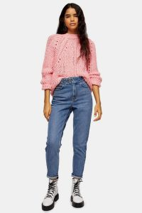 Topshop Mid Blue D Ring Mom Jeans
