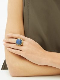 AURÉLIE BIDERMANN Miki lapis and 18kt gold-plated brass ring / blue stone statement rings